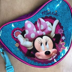 minnie mouse glitter saddle bag / heart bag  ☆
